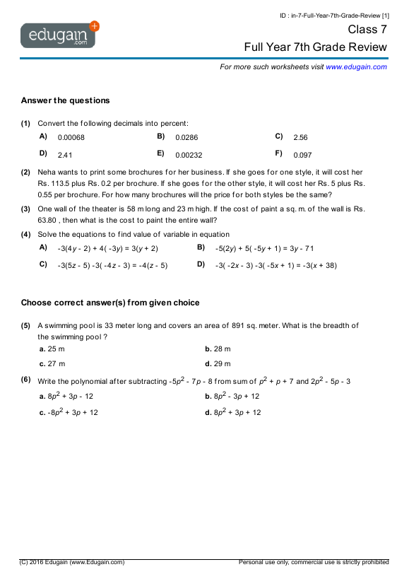 Grade 7 Math Worksheets and Problems Full Year 7th Grade Review – Worksheets for 7th Grade